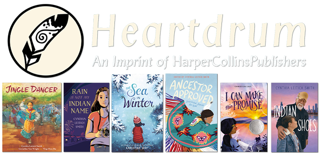 top row has a feather in a circle next to the word heartdrum and the bottom row has 6 book covers.